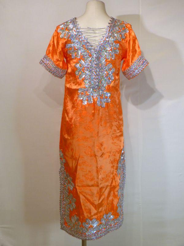 Robe Kabyle TURQUOISE et MANDARINE, robe kabyle satin turquoise et